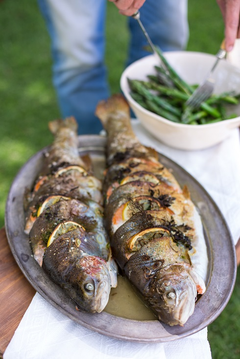 Whole Roasted Trout With Lemon And Thyme Recipe — Dishmaps