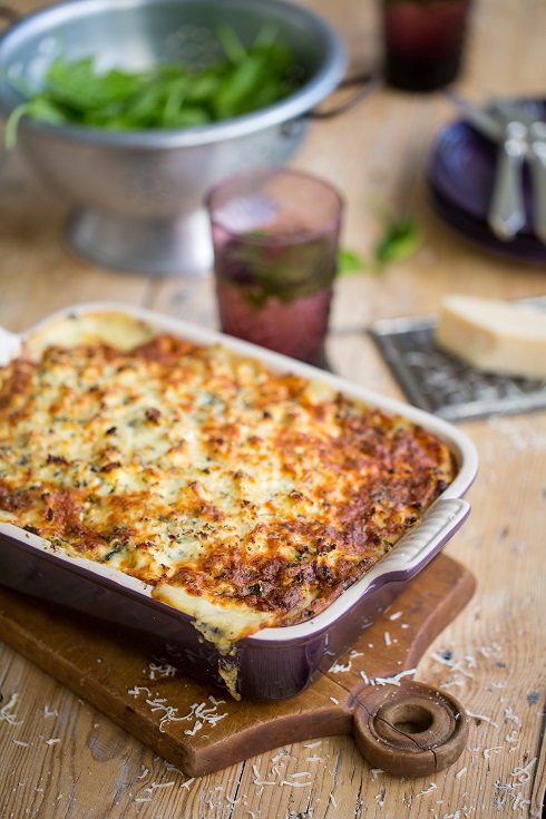 Freshly baked vegetable lasagne straight from the oven (photography by Tasha Seccombe, styling by Nicola Pretorius)