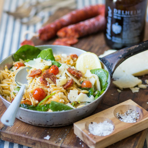 Warm orzo salad with chorizo & spinach (photography by Tasha Seccombe, styling by Nicola Pretorius)