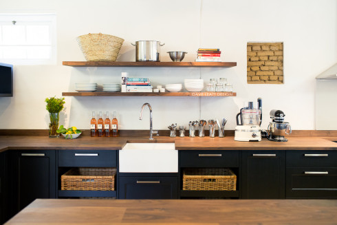 The lab sink and walnut shelves (photography by Tasha Seccombe)