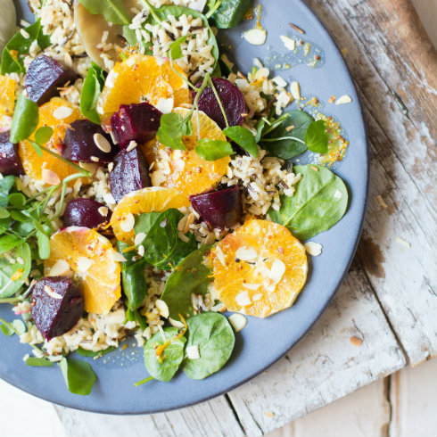 Orange, beetroot & brown rice salad (photography by Tasha Seccombe)