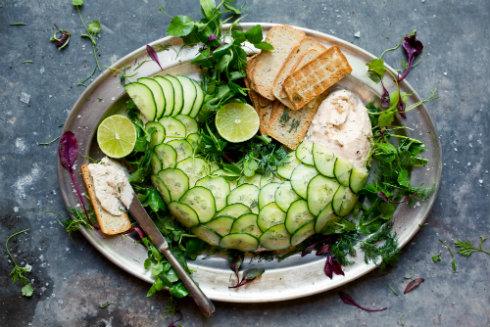 "Light and creamy trout mousse with cucumber ""scales"" (photography by Tasha Seccombe)"