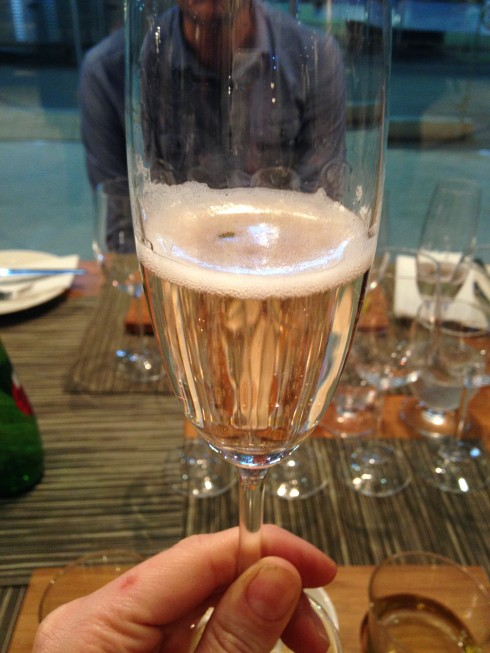 Opening our tapas lunch with a glass of L'Ormarins MCC at Terra del Capo.