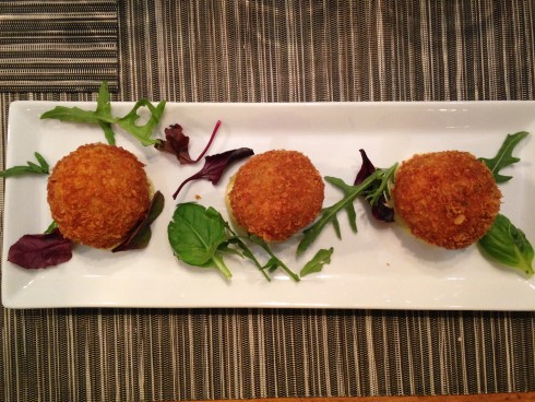 Deep fried rillette balls at Terra del Capo tapas restaurant.