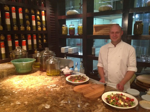 The talented chef at Terra del Capo's tapas bar. Some of the best tapas I've had in this region.