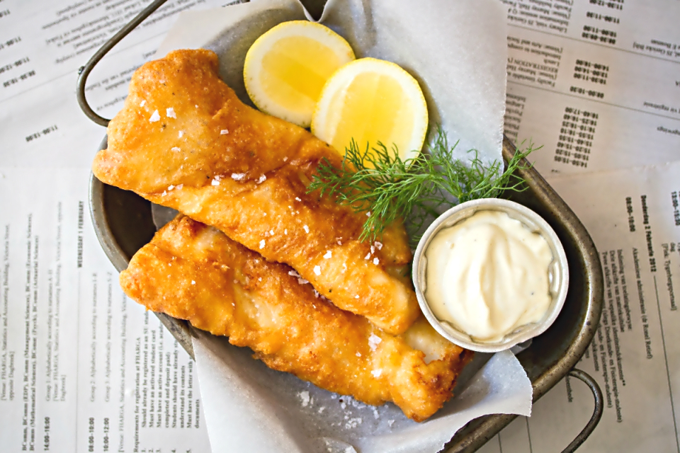 Golden beer battered hake with home-made mayo (photography by Tasha Seccombe)