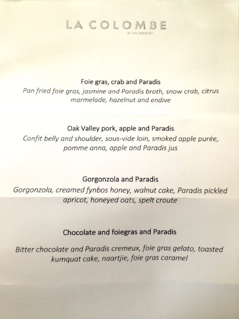 Our fabulous lunch menu at La Colombe, paired with Hennessy Paradis.