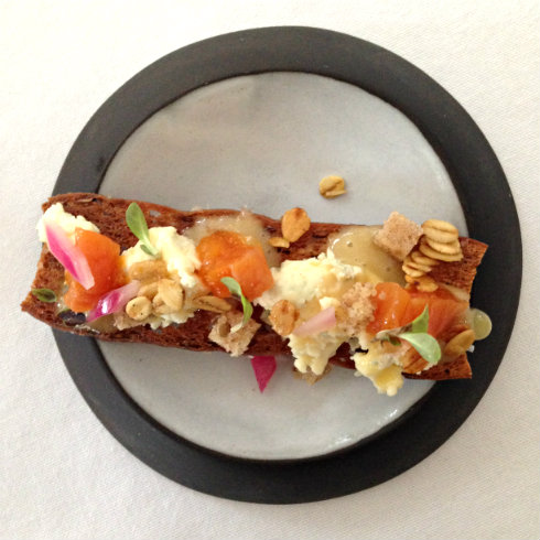 Gorgonzola, creamed fynbos honey, walnut cake, Paradis pickles apricots, honeyed oats, spelt croute.