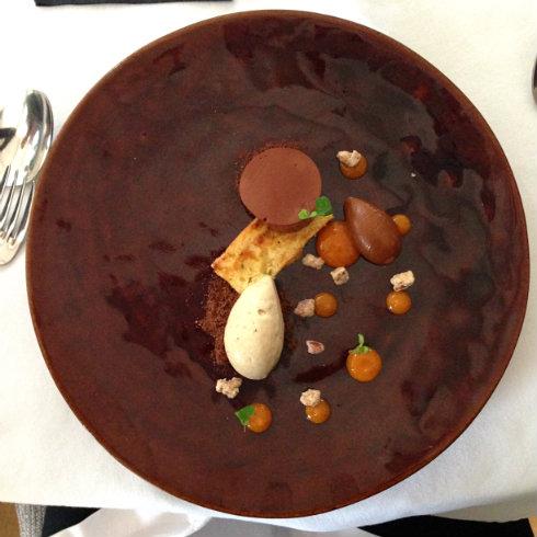 Bitter chocolate & Paradis cremeux, foie gras gelato, toasted kumquat cake, naartjie, foie gras caramel.