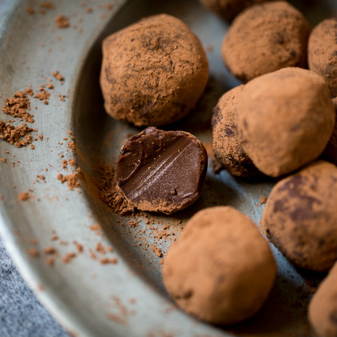 Muscovado chocolate truffles, meltingly soft, slightly bitter and super decadent (photography by Tasha Seccombe).