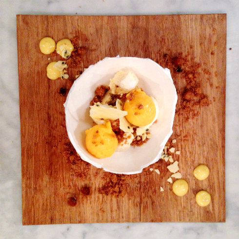 Meringue egg shell, mango sorbet, granadilla curd, toasted hazelnut crumbs. Delightful.