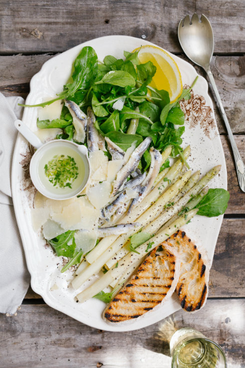 White anchovy salad with asparagus & parmesan (photography by Tasha Seccombe)