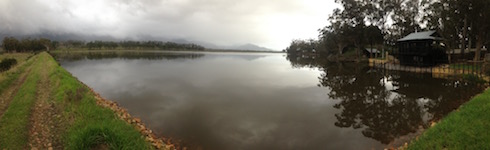 A panoramic view of the dam, late afternoon.