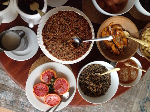 Muesli pie, bruléed grapefruit, and other treats for breakfast. Not to mention the warm breakfast items.