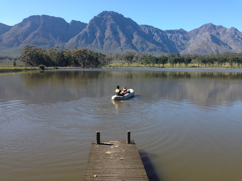Taking it easy in a boat on the dam.