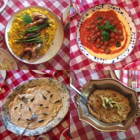Some of the dishes that we tried at Mama Cucina: Prawn & saffron risotto, polenta with meatballs, veal with tuna & caper mayonnaise and a roasted artichoke dip.