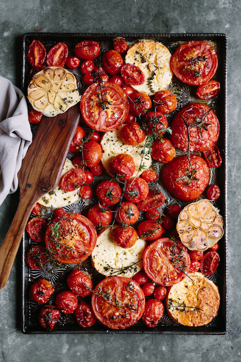 Baked tomatoes with feta, garlic, thyme (photography by Tasha Seccombe)
